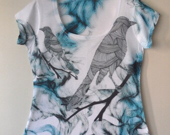 New Blue Birdies Special Design Women Top one side printed