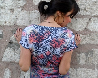 Coral Navy Blue Rustic Women T-shirt both side printed