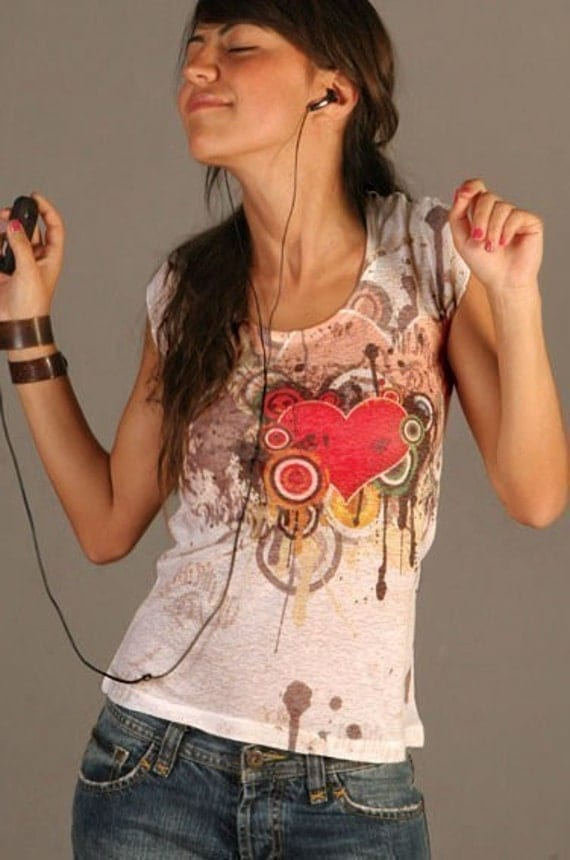red melting heart love t-shirt tie dye new women listen to your romantic spring fashion one side printed