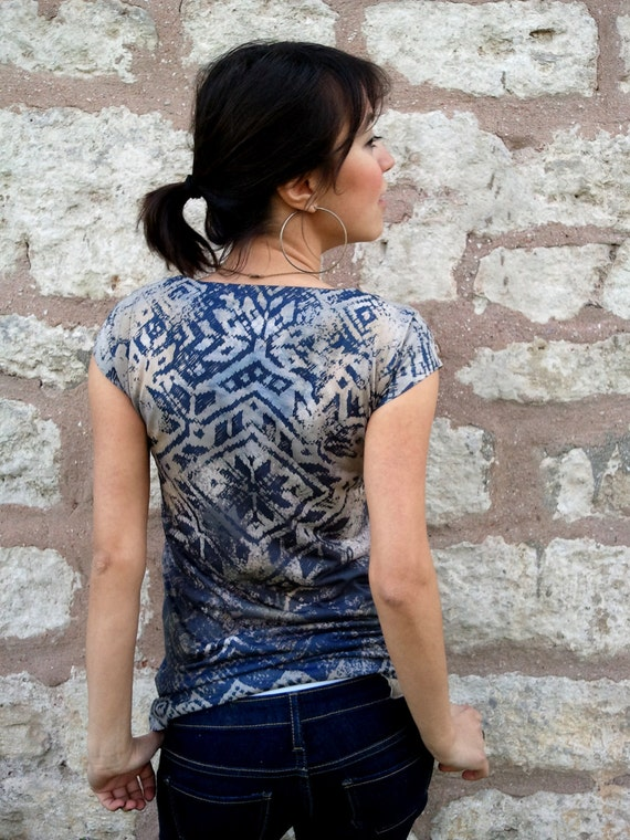 Navy Blue Rustic Women T-shirt both side printed