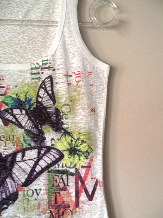 Purple Butterflies Yellow Flowers Sleeveless Women T-shirt one side printed