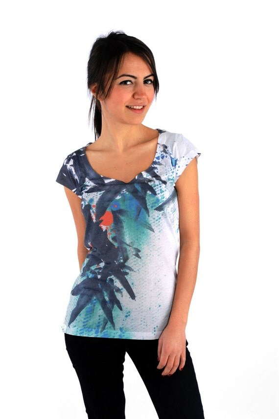 Navy  Blue Leafs Special Design Women Top Tshirt one side printed
