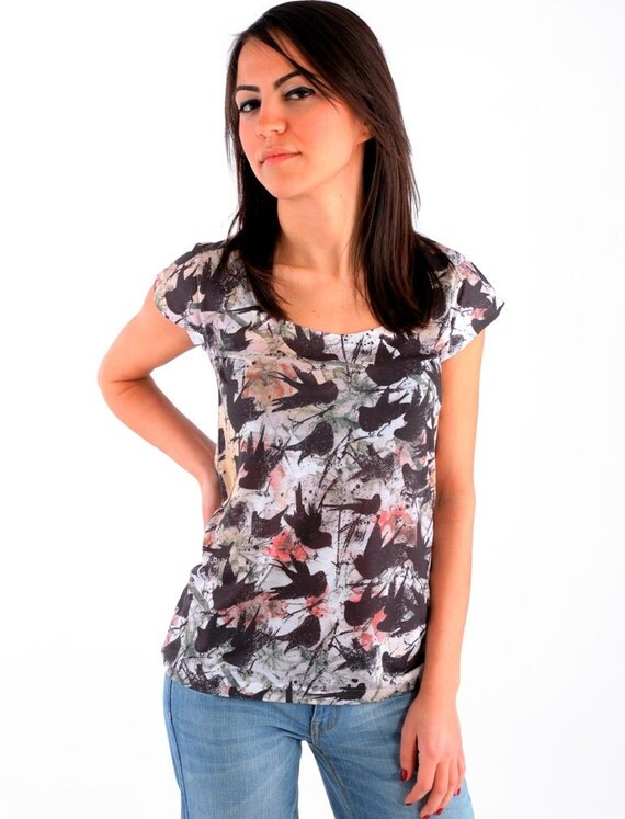 Black birds spring fashion new design women t shirt