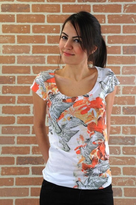 orange flying bird summer fashion special design women tshirt one side printed