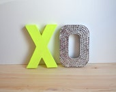 Neon Yellow & Silver XO letters for wedding, party, or home decor