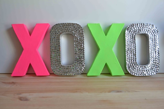 Neon Green & Neon Pink XOXO Letters for ROSANNA