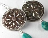 Fine Silver Star Mandala Earrings w/Amazonite Drops
