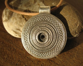 Fine silver God's Eye Mandala Necklace - Made to Order