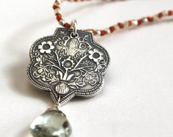 Fine Silver Floral Necklace, Green Amethyst Pendant, Tribal Silver Necklace