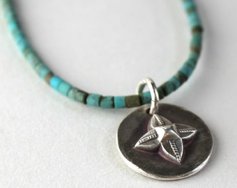 Fine Silver Round Tribal Four Leaf Pattern and Turquoise Necklace - Custom Order