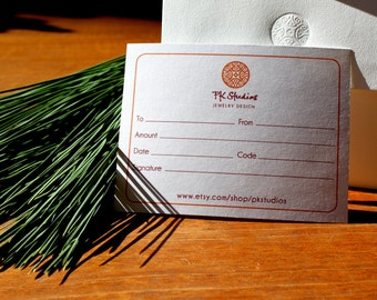 Jewelry Gift Certificate - 50 USD - Free Shipping