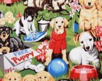 Adopt Me Free Puppy I Spy Dog Fabric Golden Retriever, Wheaton, Labrador 1 Yard Fabric