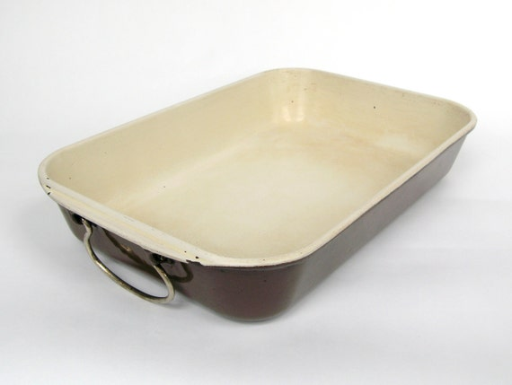 Enamelware Baking Dish by Le Creuset - Brown and White