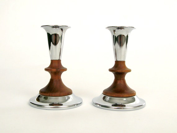 Candlesticks by Kromex - Chrome and Wood Pair