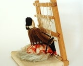 1940s-50s Navajo Diorama Souvenir Woman Weaving Rug with Baby by Her Side