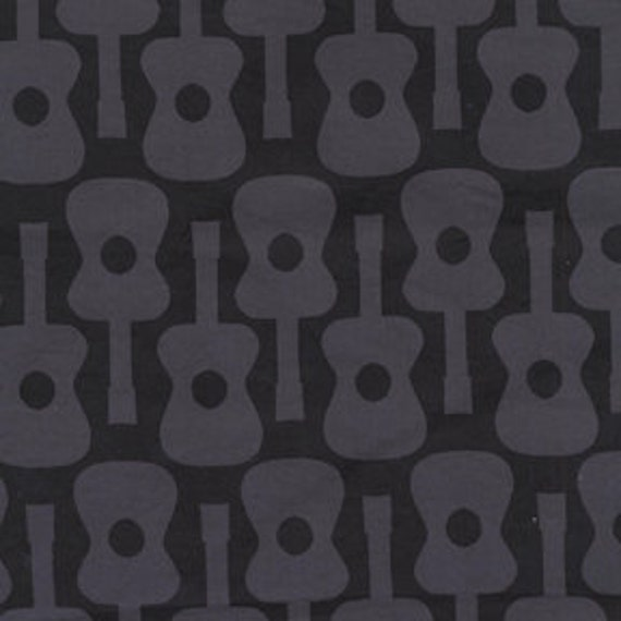 Michael Miller fabric - Citron Gray Color Story - Groovy Guitar in Gray - Fat Quarter FQ