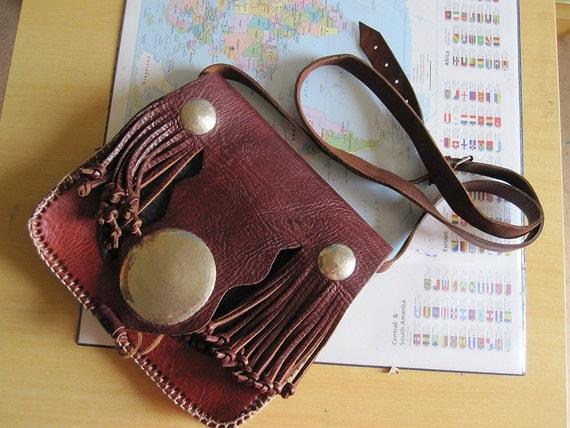 Stunning Vintage hippie boho style  handmade leather bag