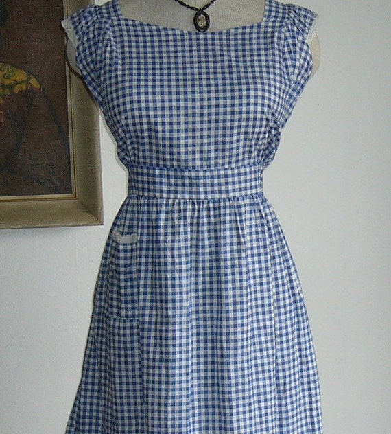 Vintage 1930s 1940s Wwii Homefront Pinafore Dress By