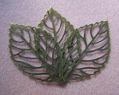 10 pcs. Filigree Leaf Pendants Antiqued Brass 64mm-2500