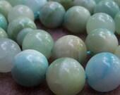 Hemimorphite glossy round beads 14mm 6 pcs - 5305