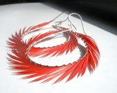 Sale, Feather Earrings, Red Feather Hoops, Handcrafted