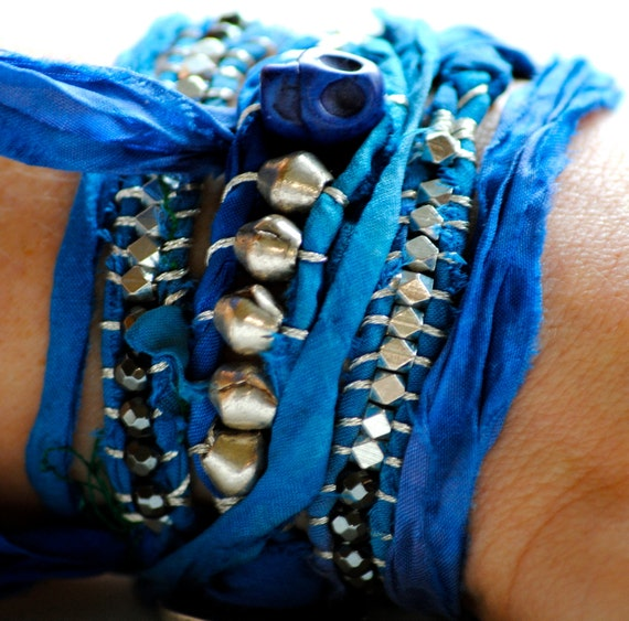 Beaded Wrap Bracelet, Sari Silk