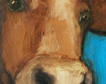 """8 x 10 IN - """"A Cow's On Cue"""" - Farm Folk Art Giclee print from my original painting"""