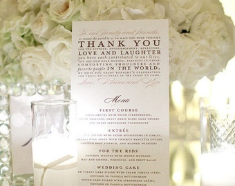 Thank You Menus as seen on Style Me Pretty - Sample