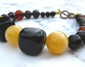 Mustard Bracelet Lemon Yellow Black Agate Bracelet Wedding Statement Gemstone Jewelry Bold Chunky Jewelry Under 25