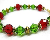Red Green Bracelet Crystal Gold OOAK Office Fashion Under 25 Christmas Jewelry