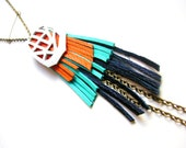 Leather Necklace Geometric Native Orange and Teal