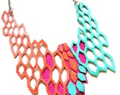 Leather Necklace Molecular Series Hexagons in Orange Pink and Teal