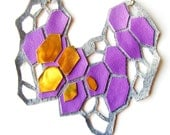 Geometric Necklace Purple Crystal Prism Forms