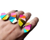Geometric Statement Ring, Neon Adjustable Ring, Leather Triangle Jewelry, Kaleidoscope Ring