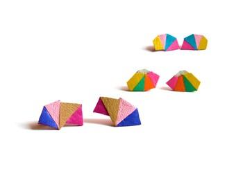 Purple Chevron Stud Earrings, Geometric Earrings, Fuchsia Beige Pink Leather Earrings, Navajo Triangle Earrings, Modern Minimalist Jewelry