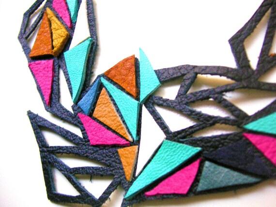 Triangle Lattice Leather Necklace