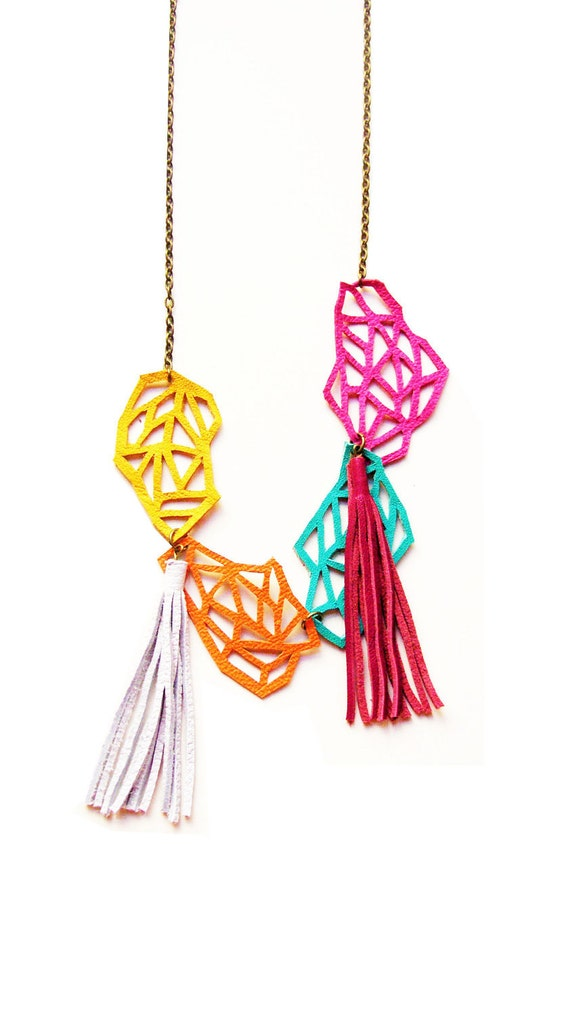Geometric Necklace Chunky Leather Links
