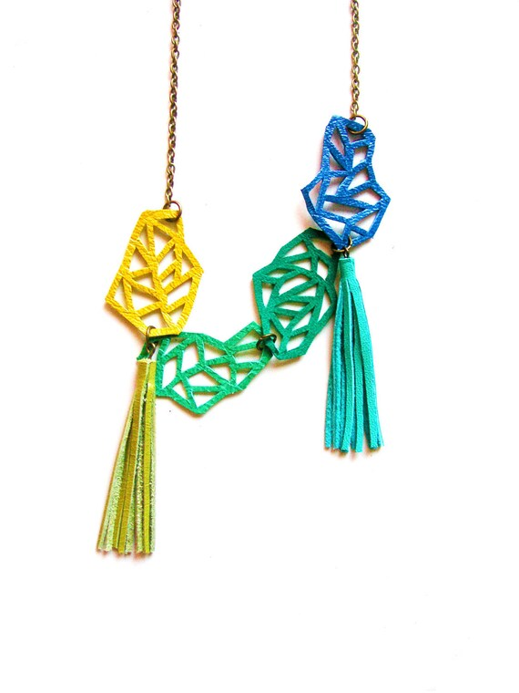 Leather Necklace Geometric  Links in Green and Blue