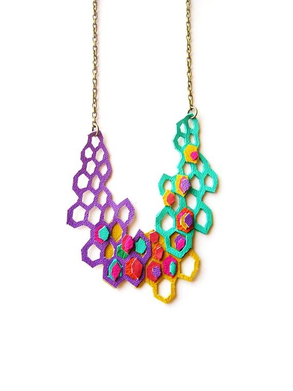 Geometric Leather Necklace Modern Purple Molecules