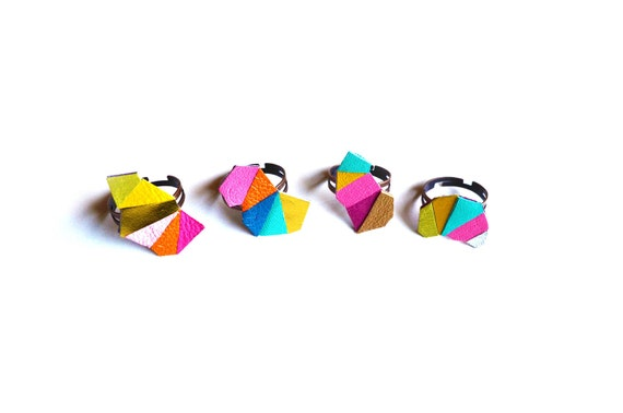 Geometric Adjustable Ring Leather Triangle Kaleidoscope Faceted Jewelry