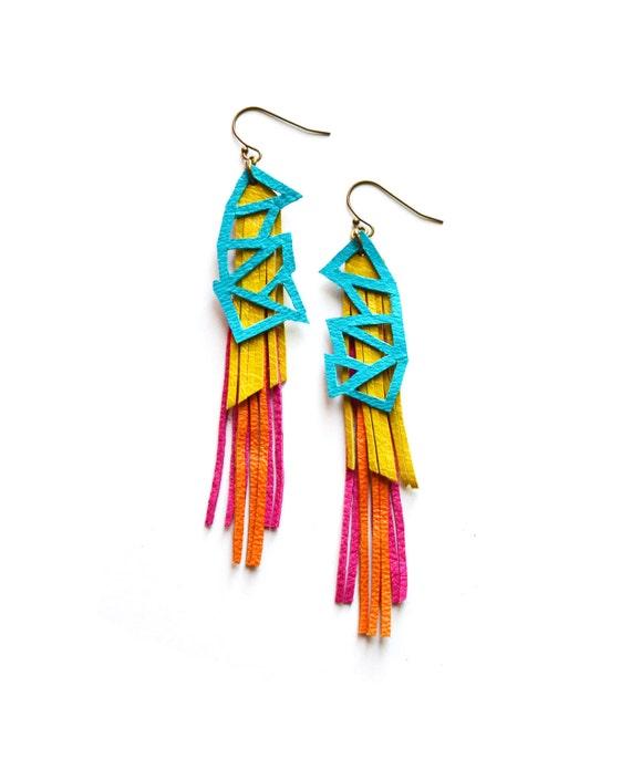 Geometric Leather Earrings, Turquoise Geometric Earrings, Long Fringe Earrings, Triangle Earrings, Color Block Statement Earrings