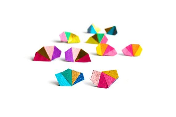 Rainbow Post Stud Earrings, Geometric Earrings, Neon Triangle Earrings, Colorful Stud Earrings