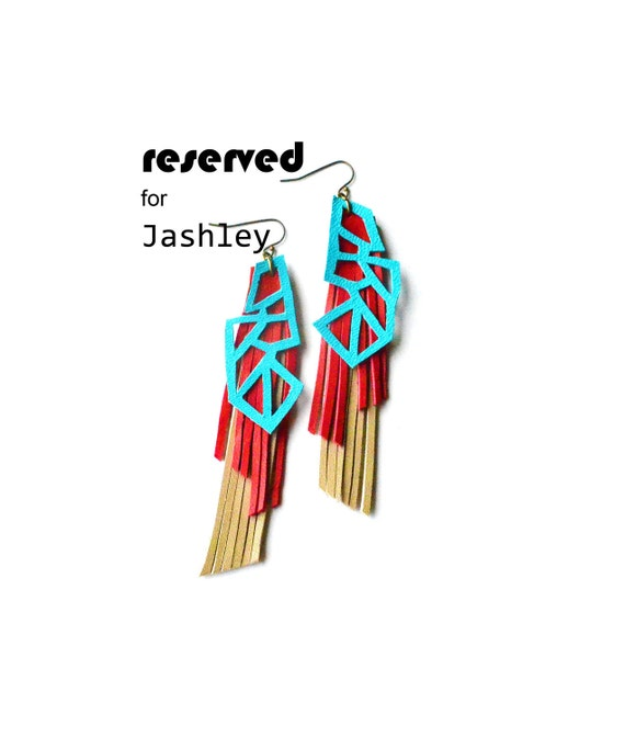 Geometric Earrings Teal Triangles and Red Fringe