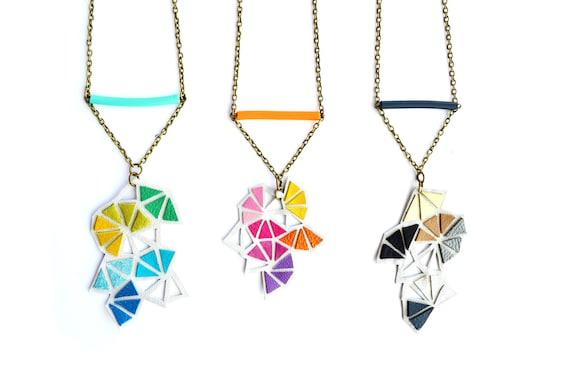 Geometric Necklace Neon Triangle Mini Kaleidoscope