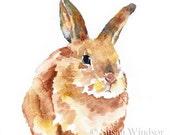 Bunny Rabbit Watercolor Original Painting