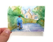 ACEO Watercolor Bicycle Ride Print