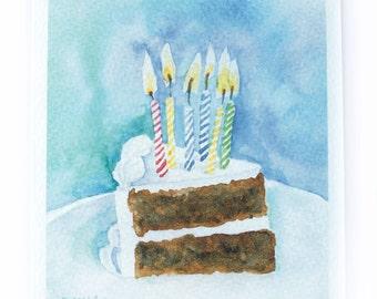 Birthday Cake Watercolor Birthday Card