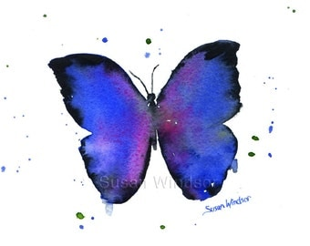 Blue Butterfly Watercolor Painting Giclee Print 10 x 8 - Butterfly Art Print - 11 x 8.5