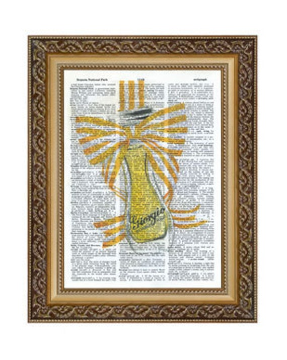 Perfume Bottle Print on Vintage Dictionary Page