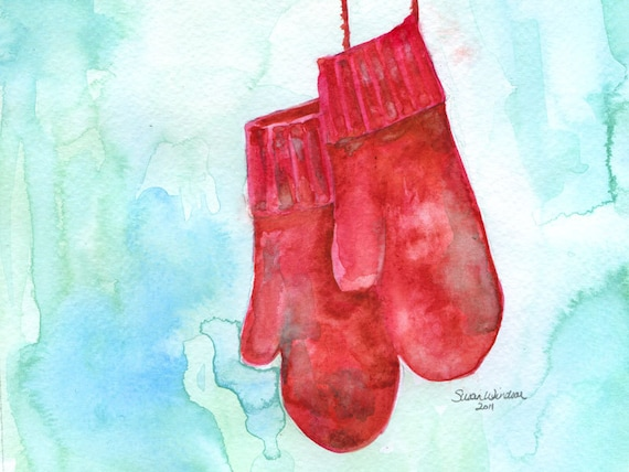 Red Mittens Watercolor Christmas Card Set